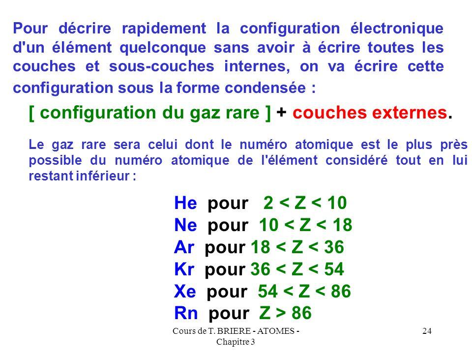 Cours de T. BRIERE - ATOMES - Chapitre 3 23 NomSymboleNuméro atomique HéliumHe2 NéonNe10 ArgonAr18 KryptonKr36 XénonXe54 RadonRn86 1 s 2 2 s 2 p 6 3 s