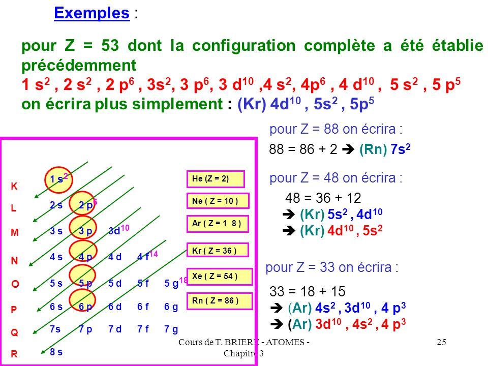 Cours de T. BRIERE - ATOMES - Chapitre 3 24 Pour décrire rapidement la configuration électronique d'un élément quelconque sans avoir à écrire toutes l