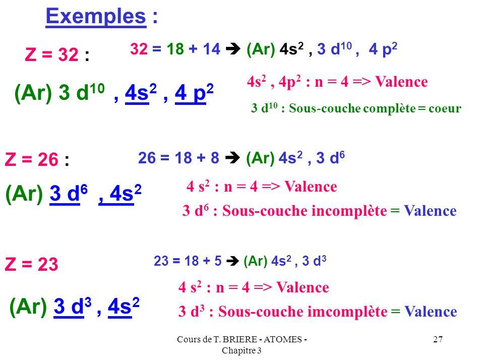 Cours de T. BRIERE - ATOMES - Chapitre 3 26 Mise en évidence de la couche de valence : La couche de valence étant la plus importante au point de vue p