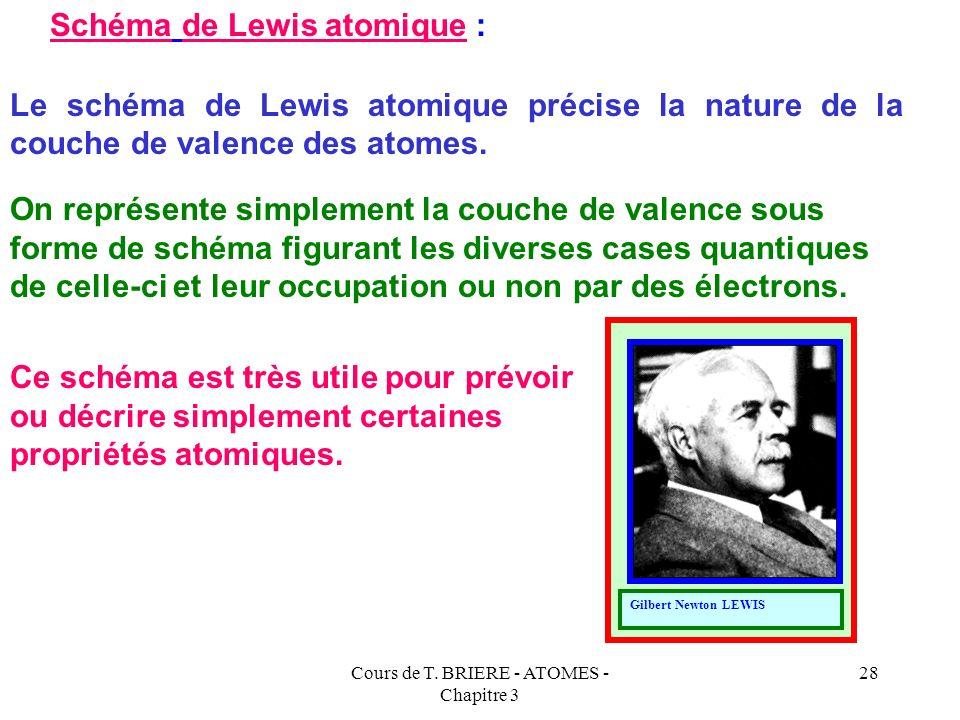 Cours de T. BRIERE - ATOMES - Chapitre 3 27 26 = 18 + 8 (Ar) 4s 2, 3 d 6 23 = 18 + 5 (Ar) 4s 2, 3 d 3 32 = 18 + 14 (Ar) 4s 2, 3 d 10, 4 p 2 Exemples :