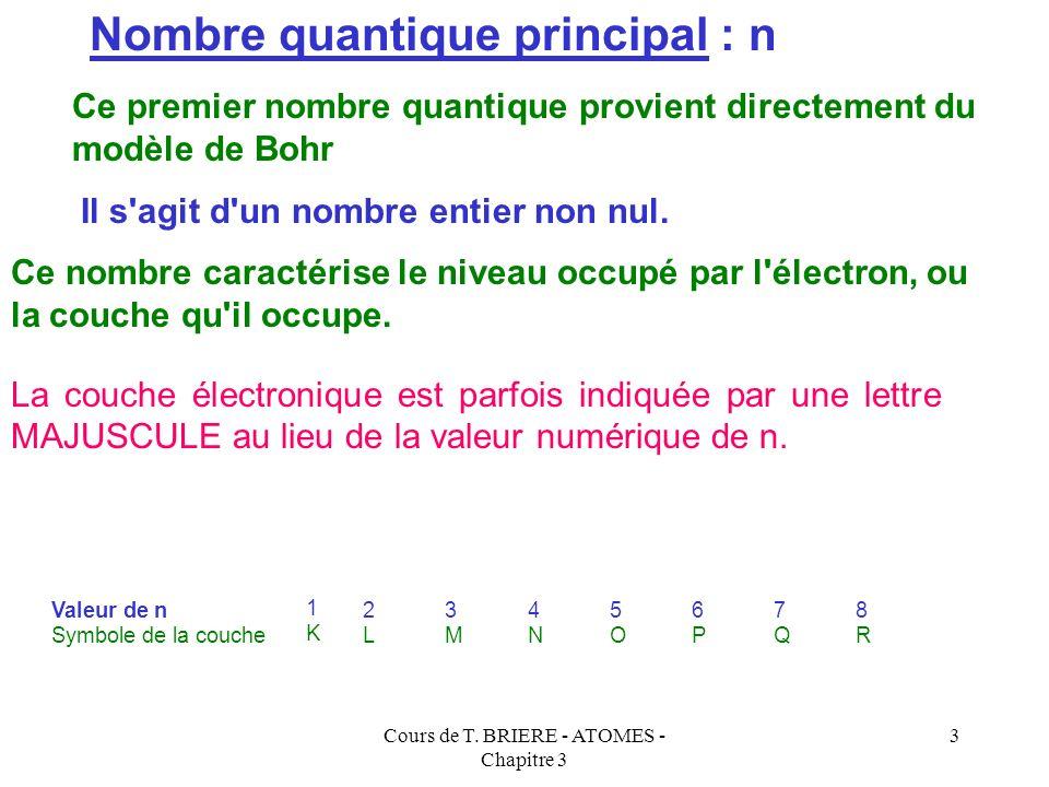 Cours de T. BRIERE - ATOMES - Chapitre 3 2 Un modèle simple consiste à considérer le cortège électronique des atomes polyélectronique comme étant cons