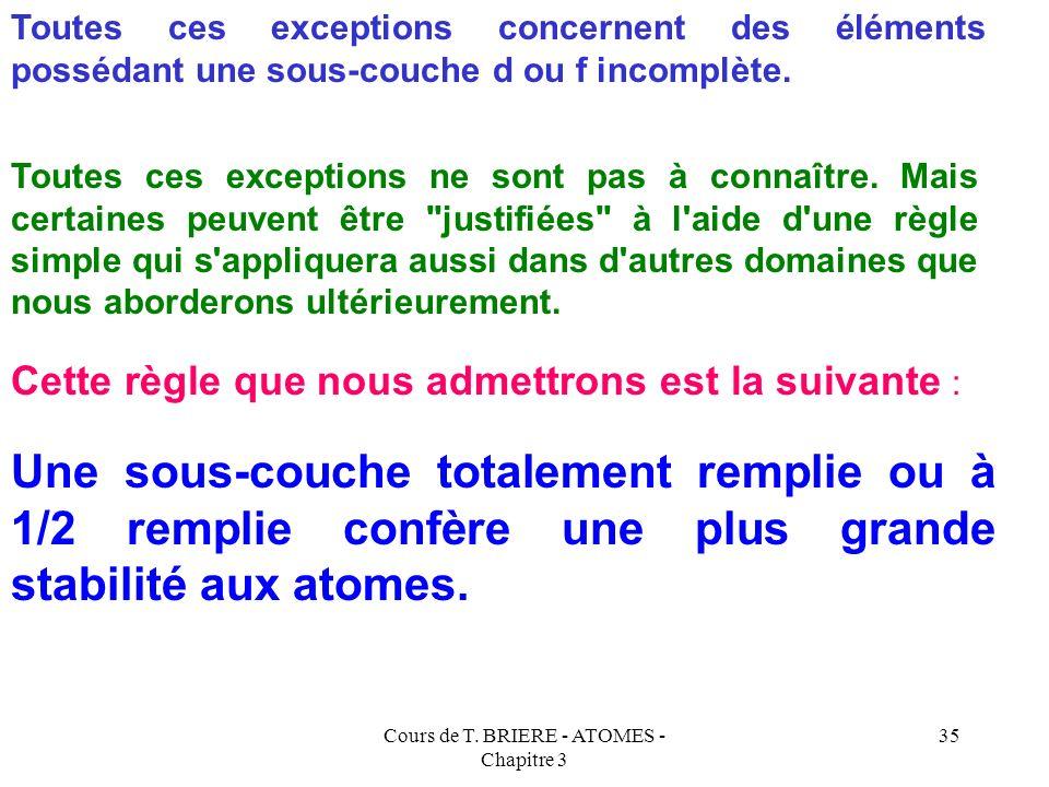Cours de T. BRIERE - ATOMES - Chapitre 3 34 Exceptions à la Règle de Klechkowski : 92UraniumU(Rn) 5 f 4 6d 0 7s 2 (Rn) 4f 3 6d 1 7s 2 93NeptuniumNp(Rn