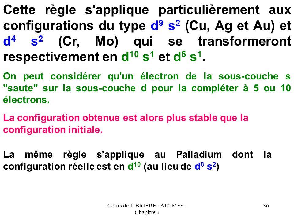 Cours de T. BRIERE - ATOMES - Chapitre 3 35 Toutes ces exceptions concernent des éléments possédant une sous-couche d ou f incomplète. Toutes ces exce