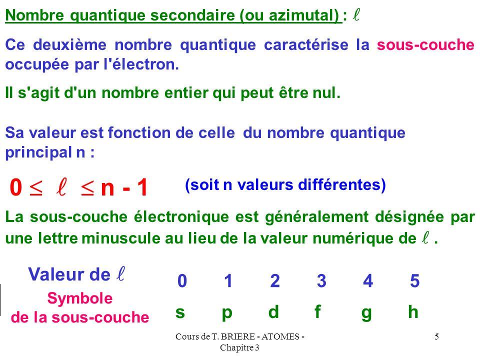 Cours de T. BRIERE - ATOMES - Chapitre 3 4 Couche K ( n = 1 ) Couche L ( n = 2 ) Couche M ( n = 3 ) Symbolisation du cortège électronique : Les Z élec