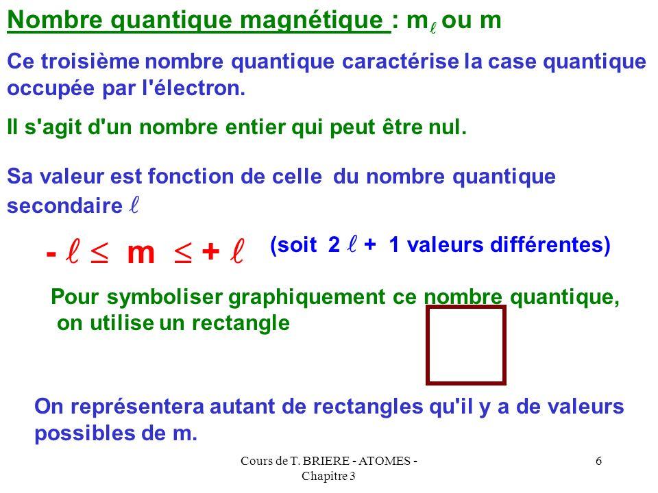 Cours de T. BRIERE - ATOMES - Chapitre 3 5 Ce deuxième nombre quantique caractérise la sous-couche occupée par l'électron. Nombre quantique secondaire