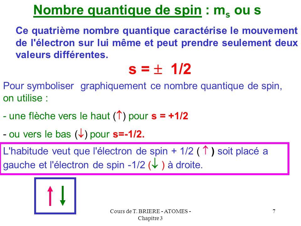 Cours de T. BRIERE - ATOMES - Chapitre 3 6 Nombre quantique magnétique : m ou m Il s'agit d'un nombre entier qui peut être nul. Ce troisième nombre qu