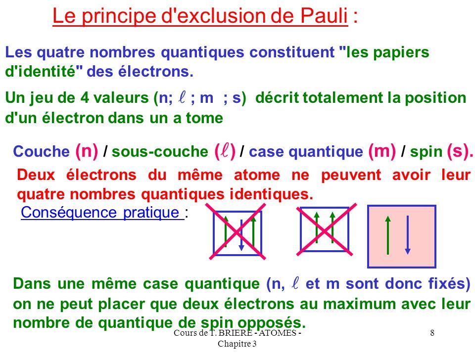 Cours de T. BRIERE - ATOMES - Chapitre 3 7 Ce quatrième nombre quantique caractérise le mouvement de l'électron sur lui même et peut prendre seulement