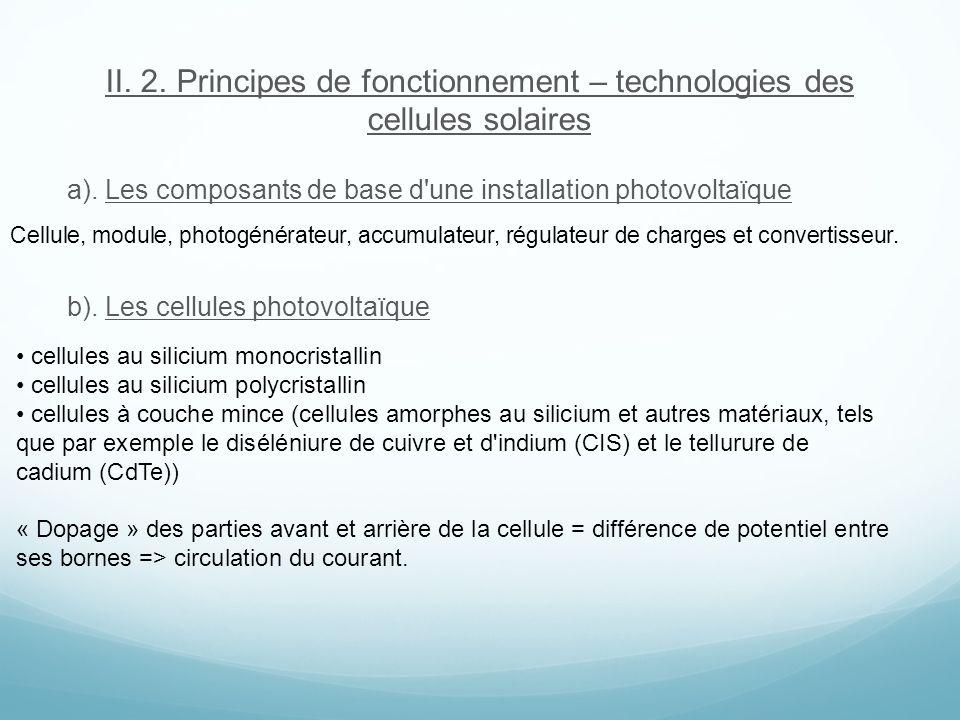 II. 2. Principes de fonctionnement – technologies des cellules solaires a). Les composants de base d'une installation photovoltaïque b). Les cellules