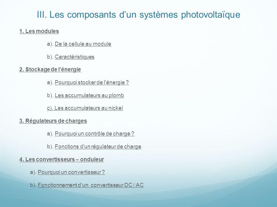 III. Les composants dun systèmes photovoltaïque 1. Les modules a). De la cellule au module b). Caractéristiques 2. Stockage de lénergie a). Pourquoi s