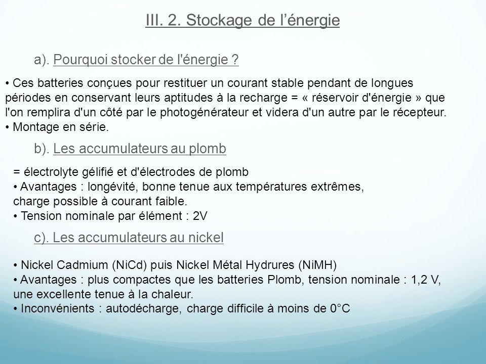 III. 2. Stockage de lénergie a). Pourquoi stocker de l'énergie ? b). Les accumulateurs au plomb c). Les accumulateurs au nickel Ces batteries conçues