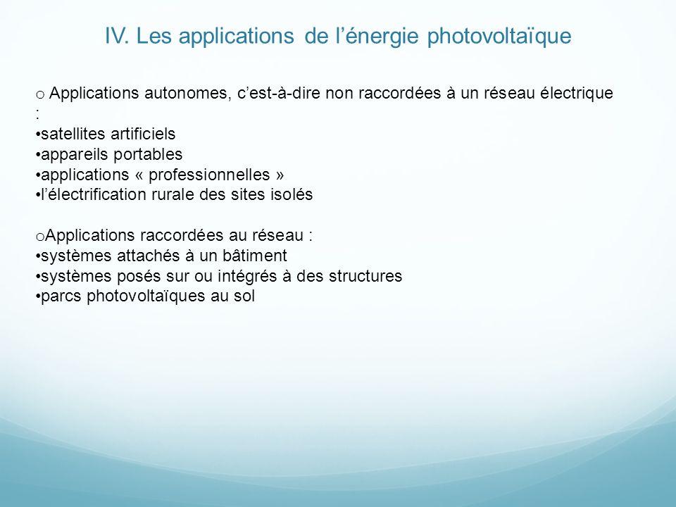 IV. Les applications de lénergie photovoltaïque o Applications autonomes, cest-à-dire non raccordées à un réseau électrique : satellites artificiels a
