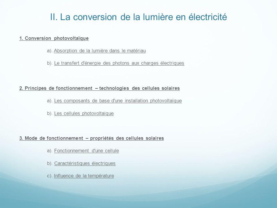 II. La conversion de la lumière en électricité 1. Conversion photovoltaïque a). Absorption de la lumière dans le matériau b). Le transfert d'énergie d