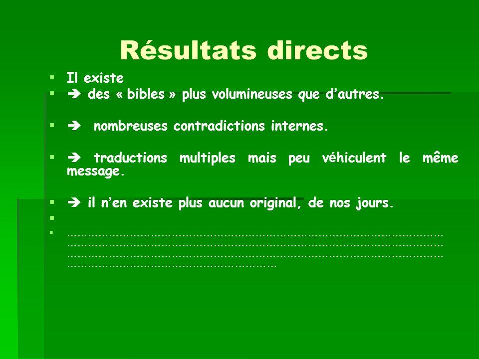 Résultats directs Il existe des « bibles » plus volumineuses que d autres. nombreuses contradictions internes. traductions multiples mais peu v é hicu