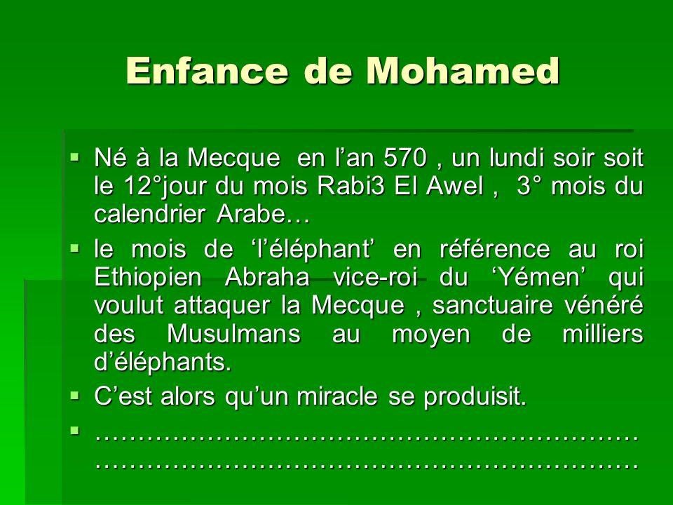 Enfance de Mohamed Né à la Mecque en lan 570, un lundi soir soit le 12°jour du mois Rabi3 El Awel, 3° mois du calendrier Arabe… le mois de léléphant e