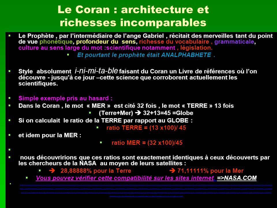 Le Coran : architecture et richesses incomparables Le Prophète, par lintermédiaire de lange Gabriel, récitait des merveilles tant du point de vue phon