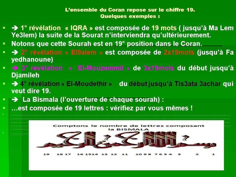 Lensemble du Coran repose sur le chiffre 19. Quelques exemples : 1° révélation « IQRA » est composée de 19 mots ( jusqu à Ma Lem Ye3lem) la suite de l