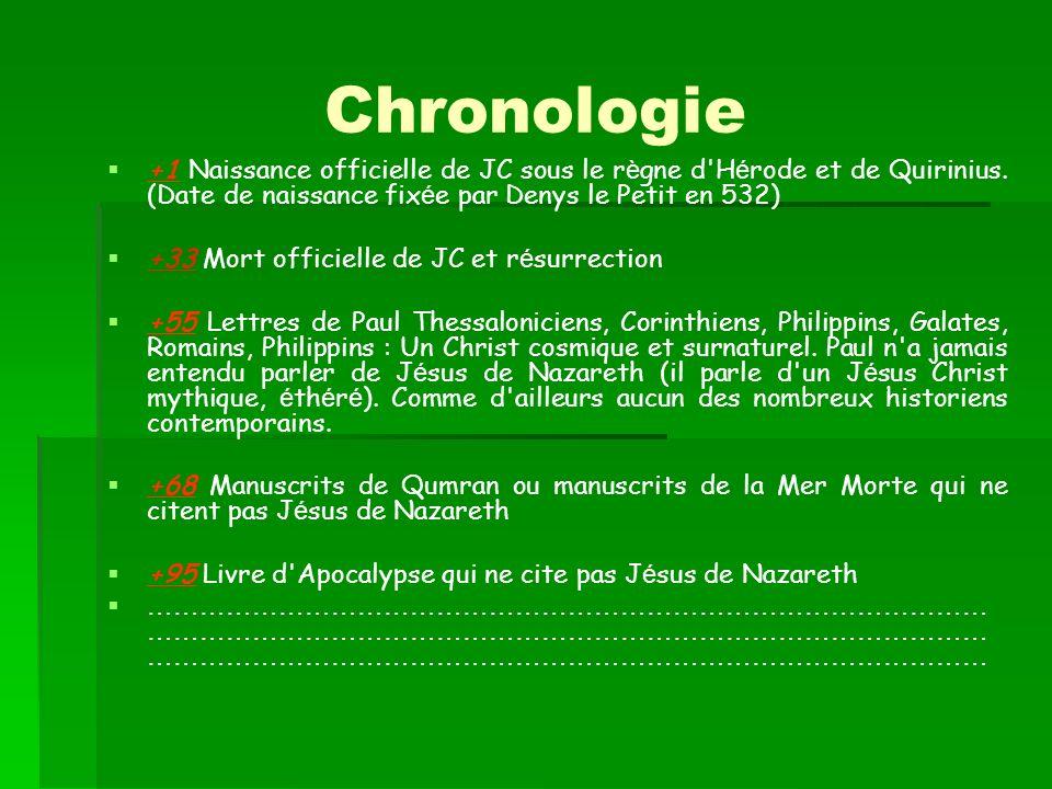 Chronologie +1 Naissance officielle de JC sous le r è gne d'H é rode et de Quirinius. (Date de naissance fix é e par Denys le Petit en 532) +33 Mort o