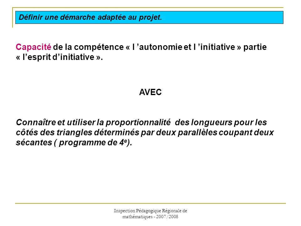 Inspection Pédagogique Régionale de mathématiques - 2007/2008 Capacité de la compétence « l autonomie et l initiative » partie « lesprit dinitiative »