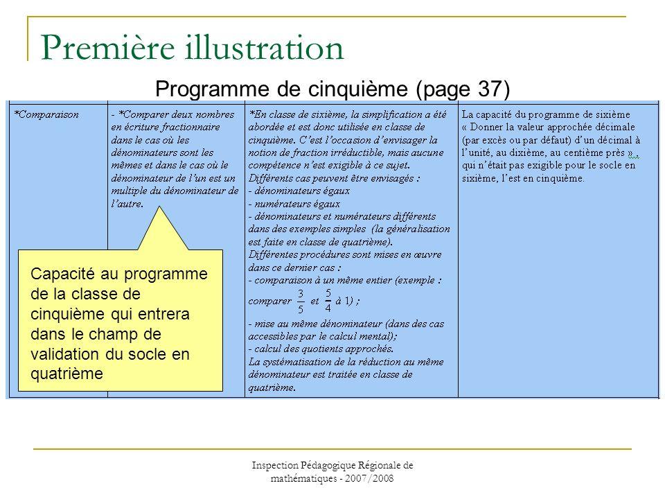 Inspection Pédagogique Régionale de mathématiques - 2007/2008 Première illustration Programme de cinquième (page 37) Capacité au programme de la class
