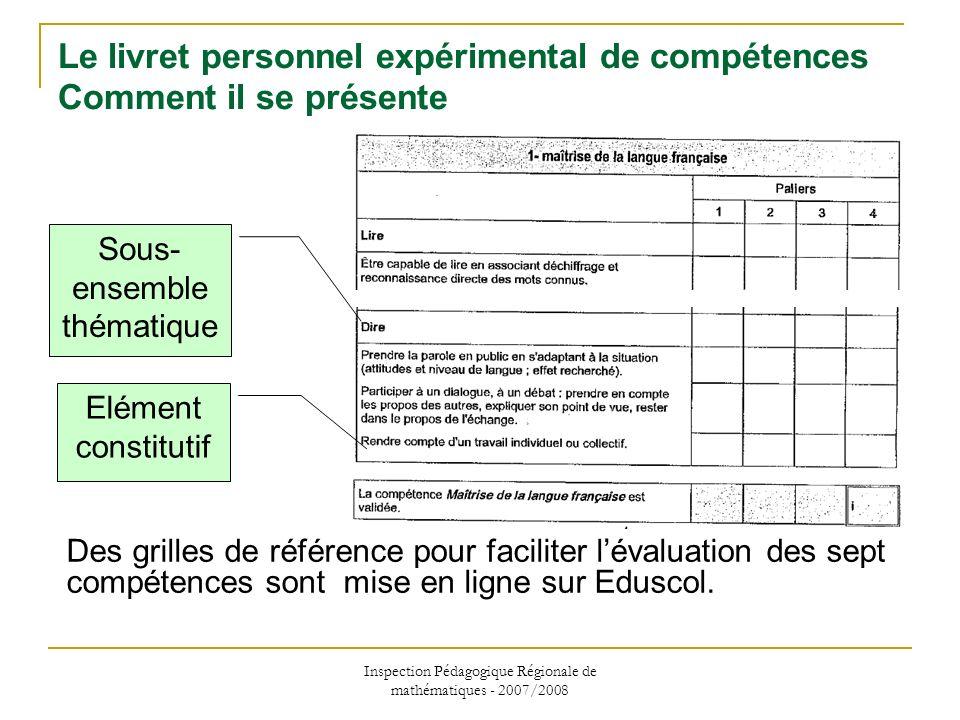 Inspection Pédagogique Régionale de mathématiques - 2007/2008 Le livret personnel expérimental de compétences Comment il se présente Sous- ensemble th