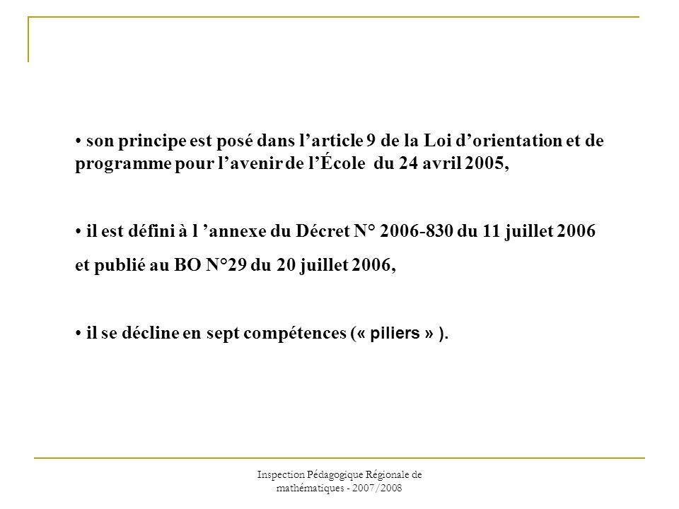 Inspection Pédagogique Régionale de mathématiques - 2007/2008 son principe est posé dans larticle 9 de la Loi dorientation et de programme pour laveni