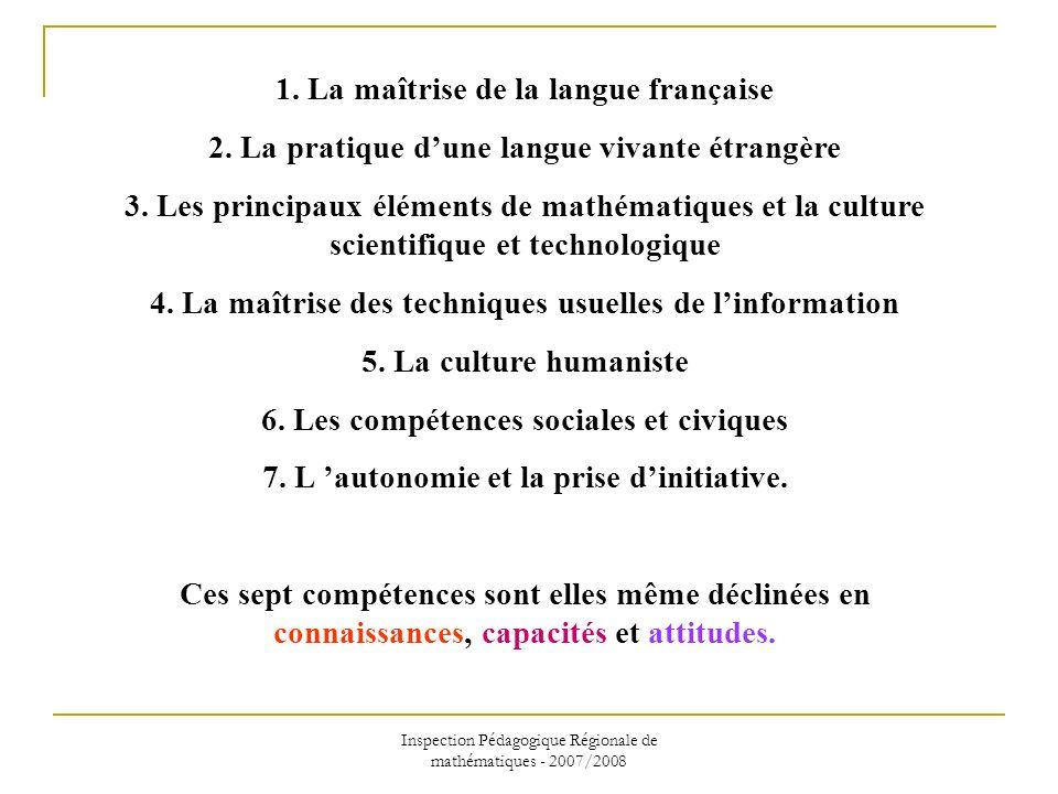 Inspection Pédagogique Régionale de mathématiques - 2007/2008 1. La maîtrise de la langue française 2. La pratique dune langue vivante étrangère 3. Le