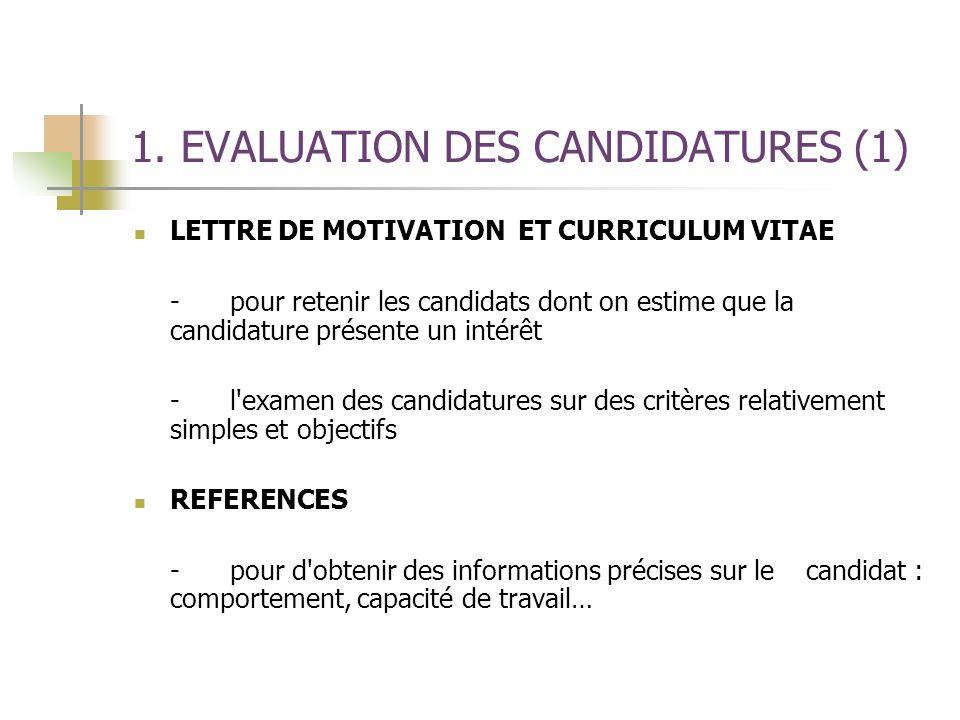 1. EVALUATION DES CANDIDATURES (1) LETTRE DE MOTIVATION ET CURRICULUM VITAE -pour retenir les candidats dont on estime que la candidature présente un