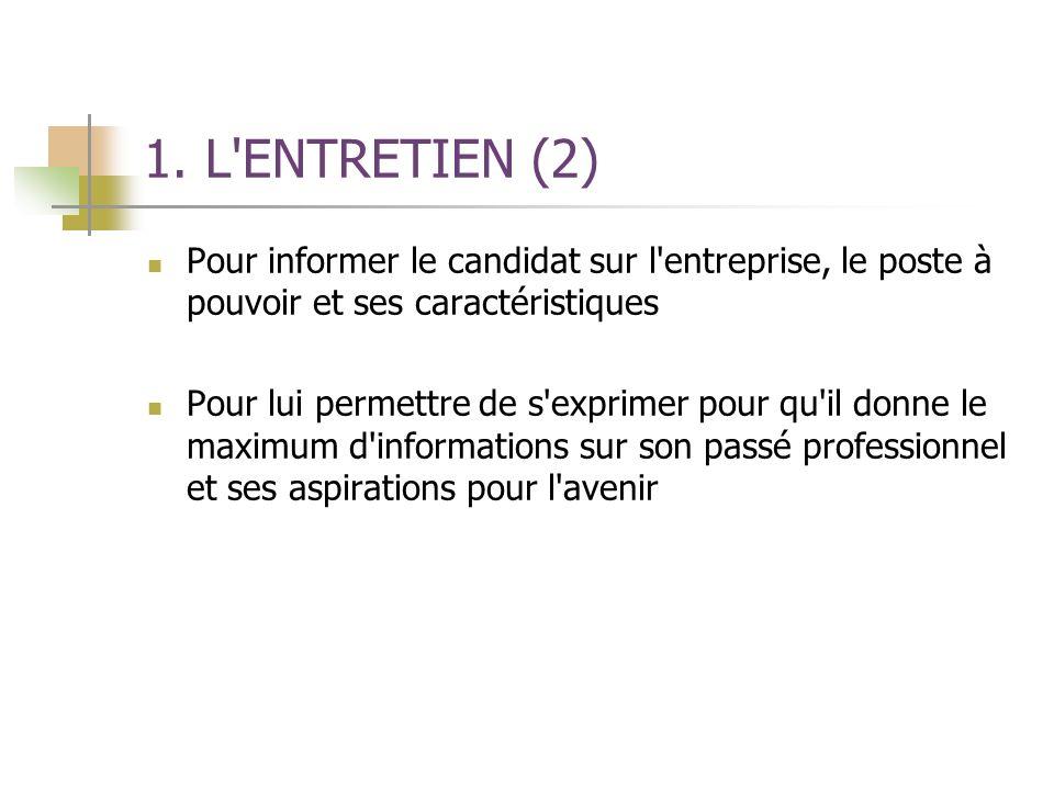 1. L'ENTRETIEN (2) Pour informer le candidat sur l'entreprise, le poste à pouvoir et ses caractéristiques Pour lui permettre de s'exprimer pour qu'il