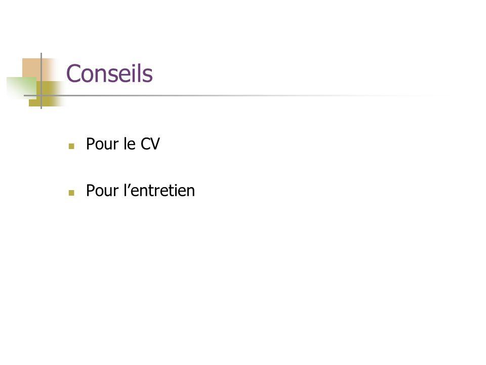 Conseils Pour le CV Pour lentretien