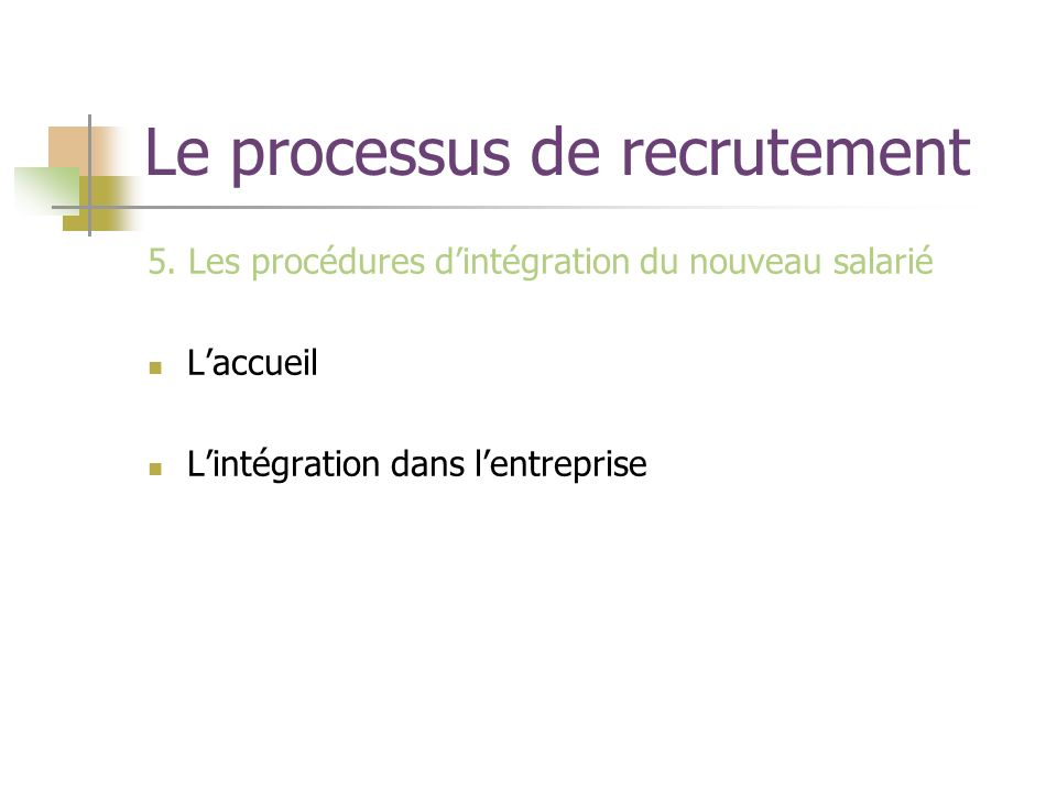 Le processus de recrutement 5. Les procédures dintégration du nouveau salarié Laccueil Lintégration dans lentreprise