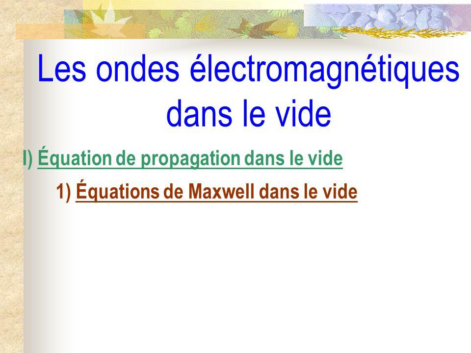 Les ondes électromagnétiques dans le vide II) Les ondes électromagnétiques planes progressives harmoniques 1) Rappel des solutions 2) Définitions des O.E.M.P.P.H.