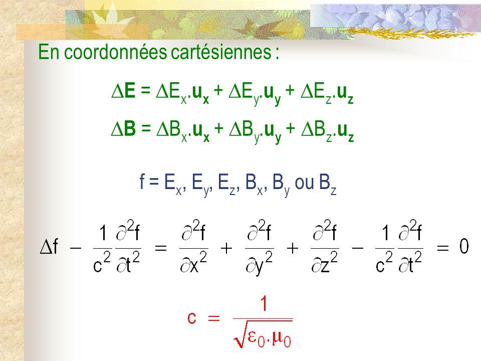En coordonnées cartésiennes : E = E x. u x + E y. u y + E z. u z B = B x. u x + B y. u y + B z. u z f = E x, E y, E z, B x, B y ou B z