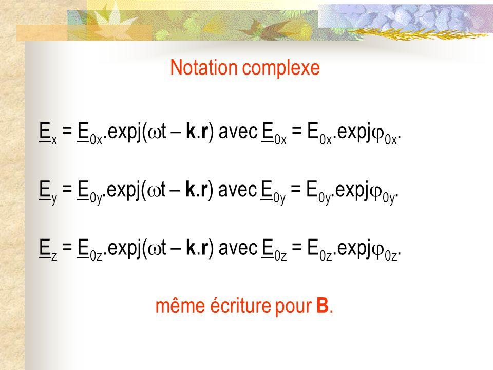 Notation complexe E x = E 0x.expj( t – k. r ) avec E 0x = E 0x.expj 0x. même écriture pour B. E z = E 0z.expj( t – k. r ) avec E 0z = E 0z.expj 0z. E