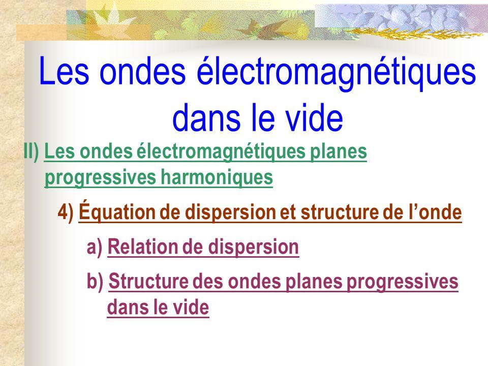 Les ondes électromagnétiques dans le vide II) Les ondes électromagnétiques planes progressives harmoniques 4) Équation de dispersion et structure de l