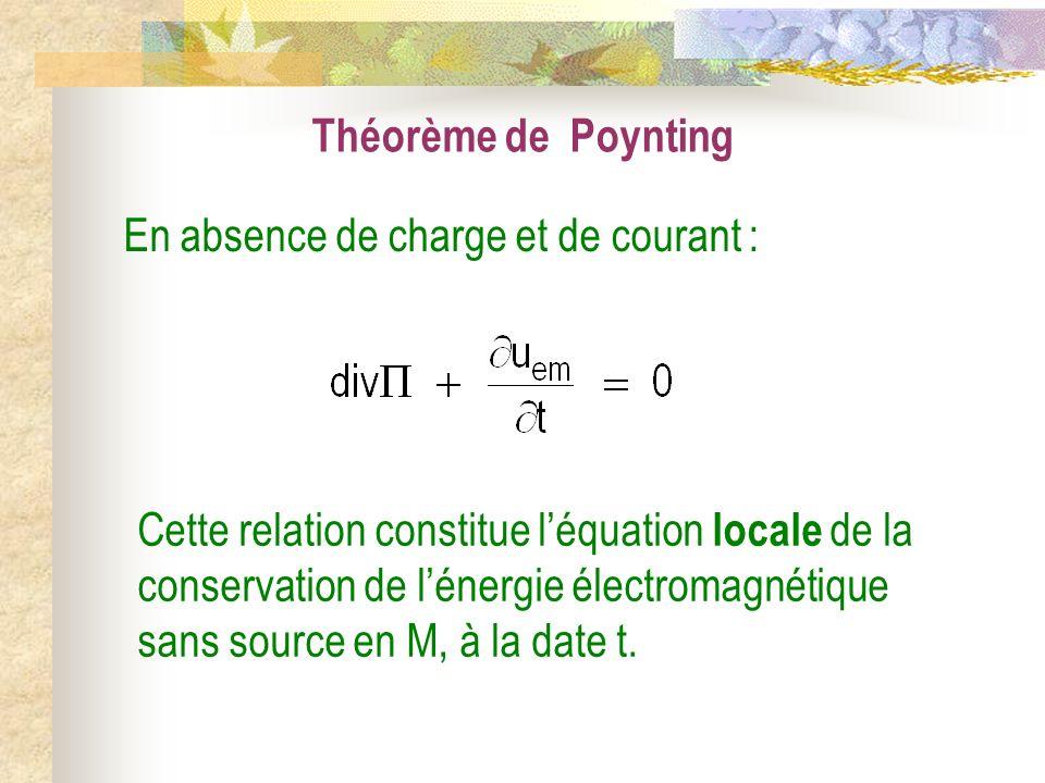 Théorème de Poynting Cette relation constitue léquation locale de la conservation de lénergie électromagnétique sans source en M, à la date t. En abse