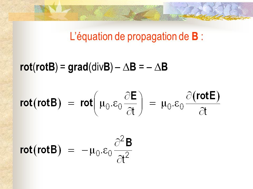 Notation complexe E (M,t) = E 0.exp[j( t – k.r )] k.r = k x.x + k y.y + k z.z k = k x.