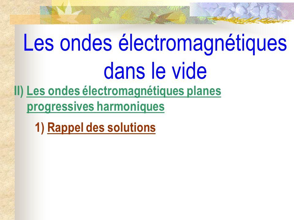 Les ondes électromagnétiques dans le vide III) Aspect énergétique