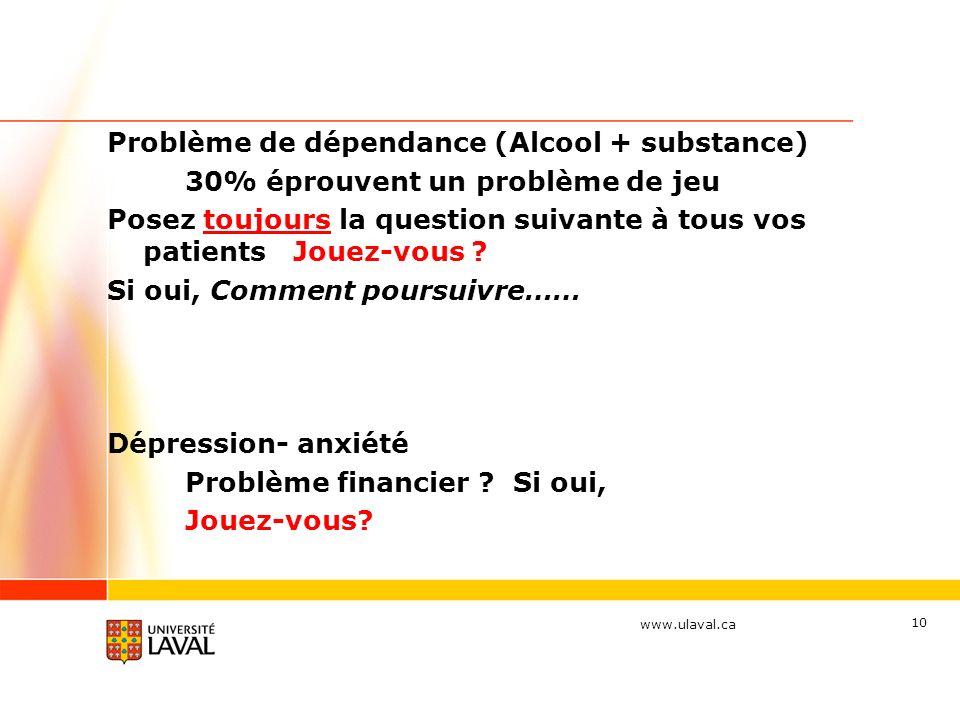 www.ulaval.ca 10 Problème de dépendance (Alcool + substance) 30% éprouvent un problème de jeu Posez toujours la question suivante à tous vos patients Jouez-vous .