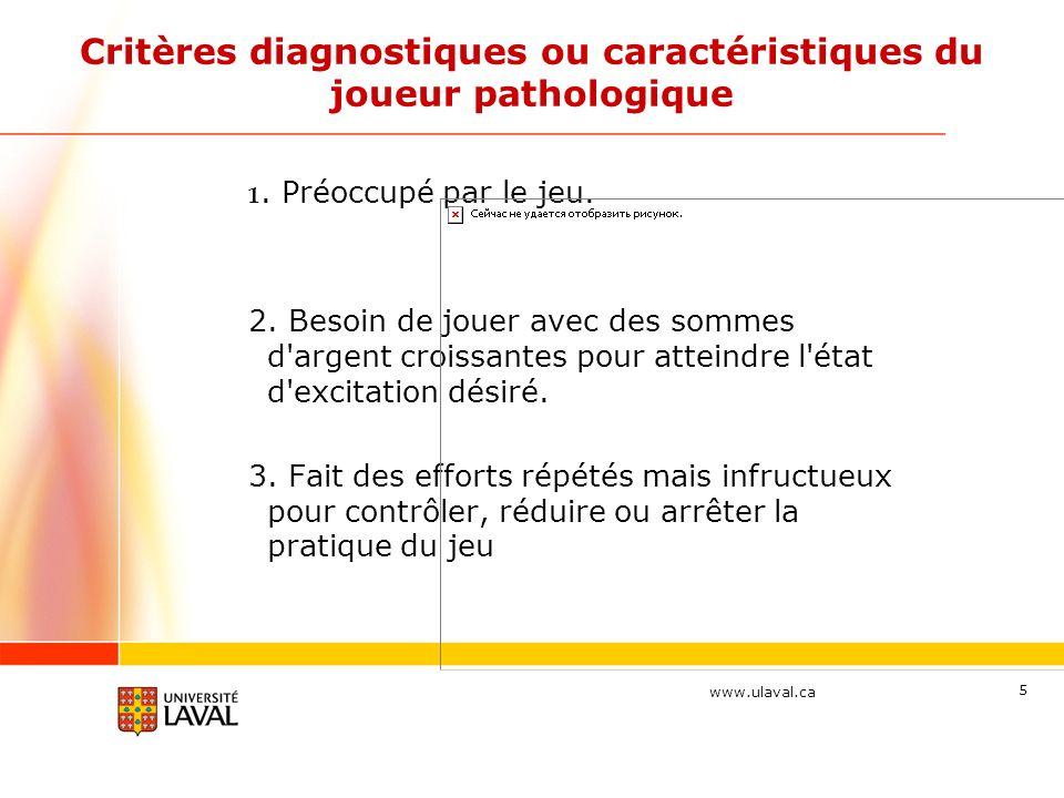 www.ulaval.ca 5 Critères diagnostiques ou caractéristiques du joueur pathologique 1.