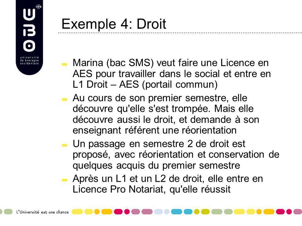 Exemple 4: Droit Marina (bac SMS) veut faire une Licence en AES pour travailler dans le social et entre en L1 Droit – AES (portail commun) Au cours de