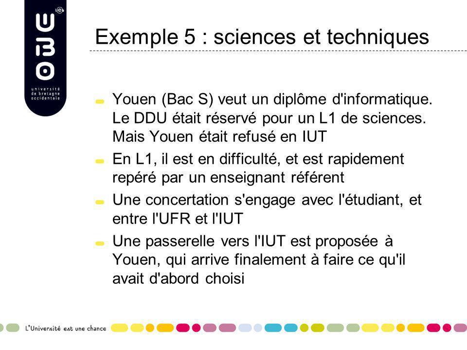 Exemple 5 : sciences et techniques Youen (Bac S) veut un diplôme d'informatique. Le DDU était réservé pour un L1 de sciences. Mais Youen était refusé