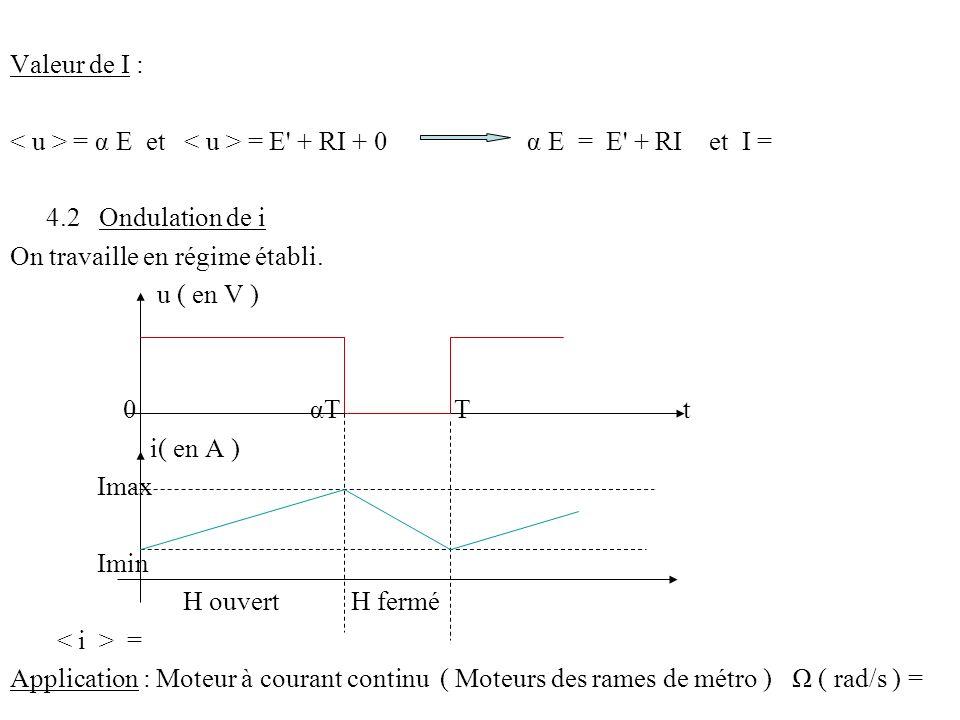 Valeur de I : = α E et = E' + RI + 0 α E = E' + RI et I = 4.2 Ondulation de i On travaille en régime établi. u ( en V ) 0 αT T t i( en A ) Imax Imin H