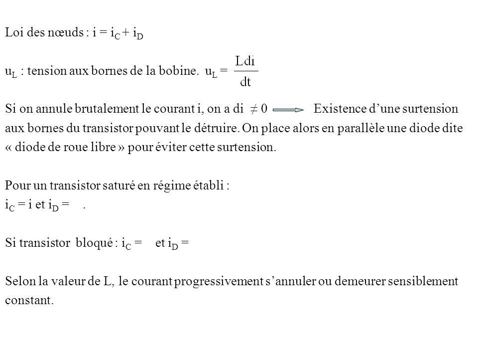 Loi des nœuds : i = i C + i D u L : tension aux bornes de la bobine. u L = Si on annule brutalement le courant i, on a di 0 Existence dune surtension