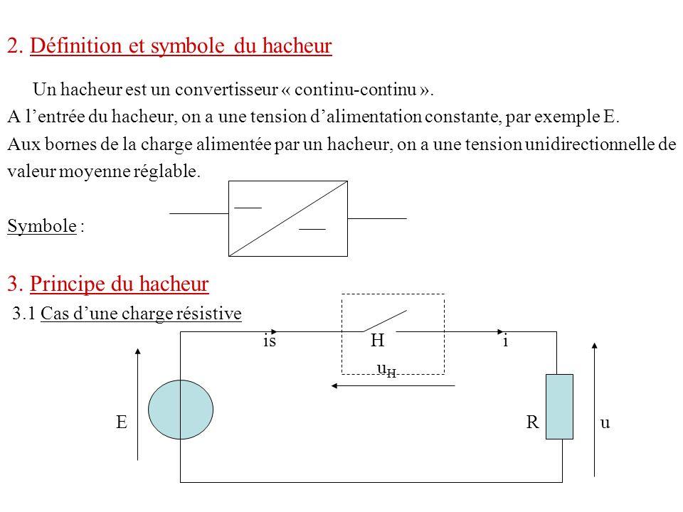 2. Définition et symbole du hacheur Un hacheur est un convertisseur « continu-continu ». A lentrée du hacheur, on a une tension dalimentation constant