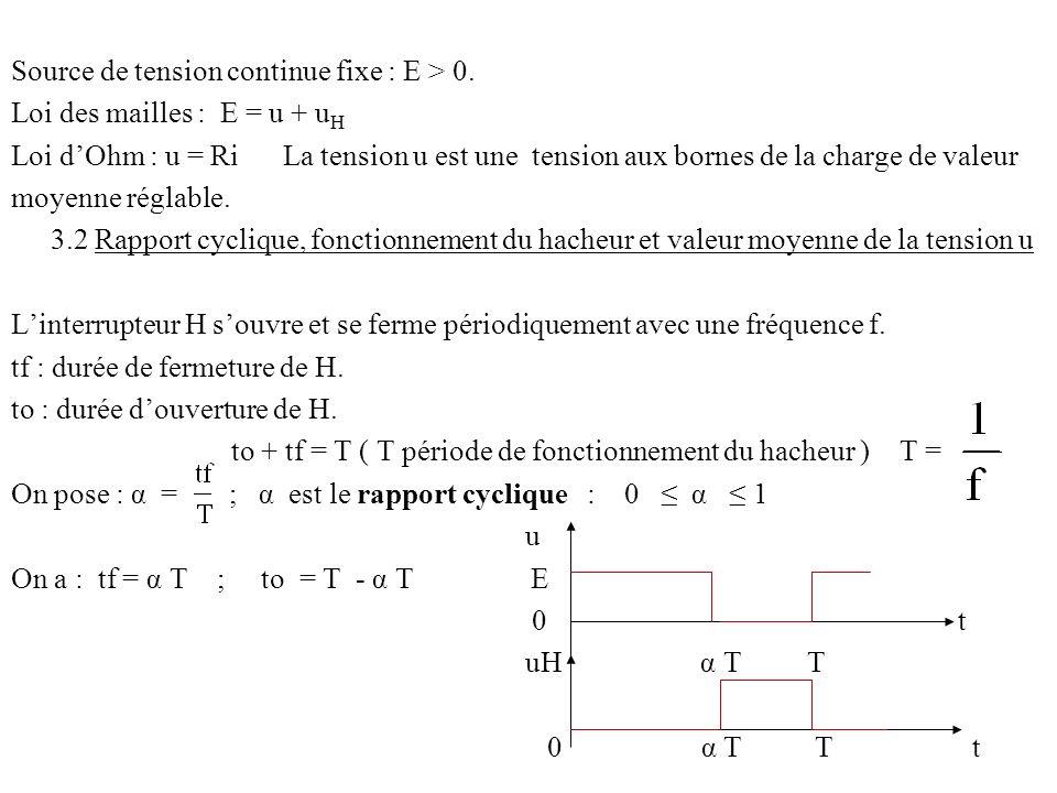 Source de tension continue fixe : E > 0. Loi des mailles : E = u + u H Loi dOhm : u = Ri La tension u est une tension aux bornes de la charge de valeu