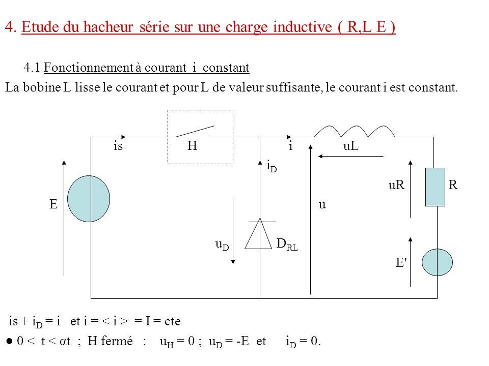 4. Etude du hacheur série sur une charge inductive ( R,L E ) 4.1 Fonctionnement à courant i constant La bobine L lisse le courant et pour L de valeur
