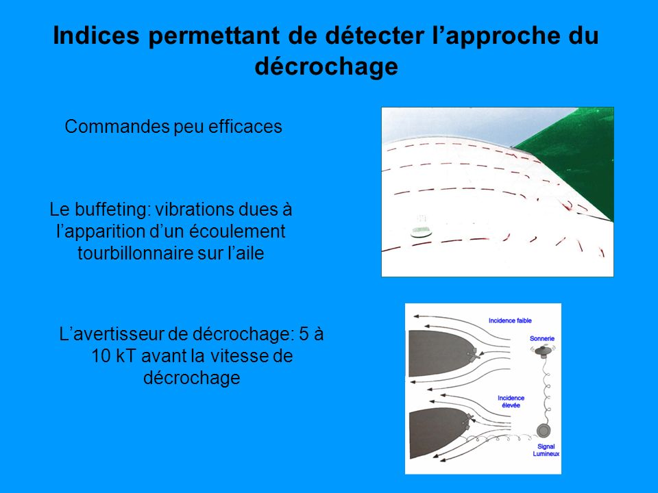 Indices permettant de détecter lapproche du décrochage Lavertisseur de décrochage: 5 à 10 kT avant la vitesse de décrochage Commandes peu efficaces Le