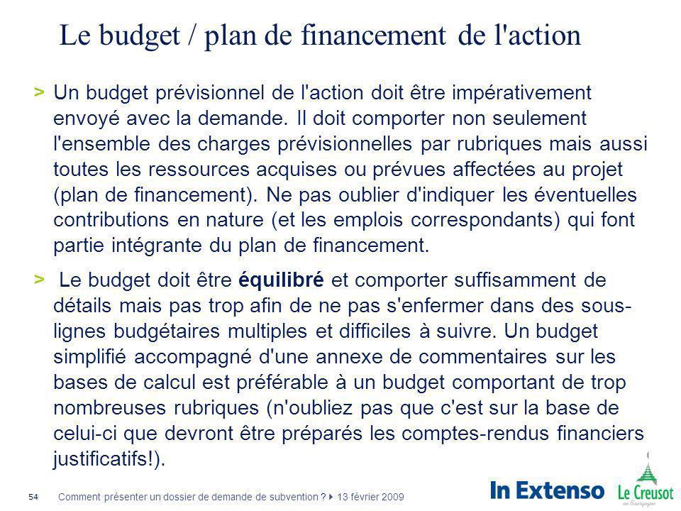 54 Comment présenter un dossier de demande de subvention ? 13 février 2009 Le budget / plan de financement de l'action >Un budget prévisionnel de l'ac