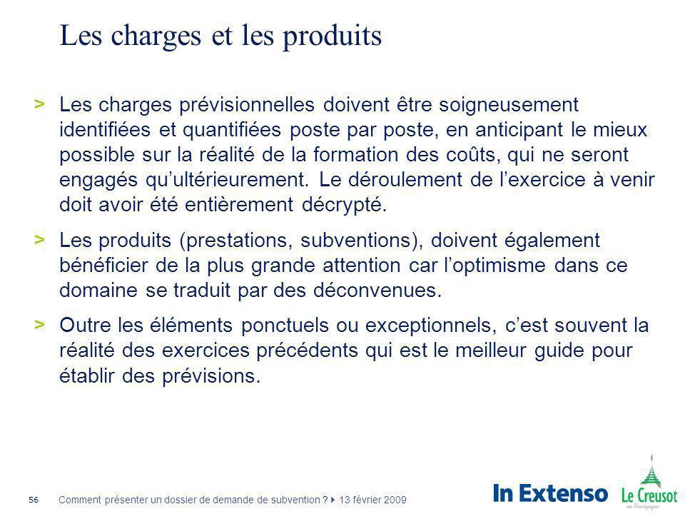 56 Comment présenter un dossier de demande de subvention ? 13 février 2009 Les charges et les produits >Les charges prévisionnelles doivent être soign