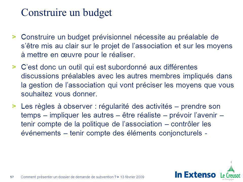 57 Comment présenter un dossier de demande de subvention ? 13 février 2009 Construire un budget >Construire un budget prévisionnel nécessite au préala
